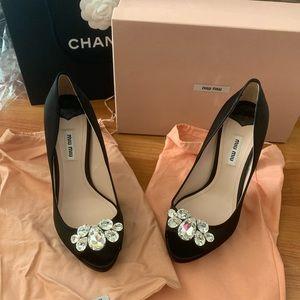 Miu Miu Satin Crystal Toe And Crystal Heel Size 39